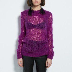 Helmut Lang purple open knit Riot mohair sweater